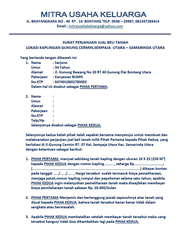 Surat Perjanjian Kontan Bontang
