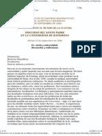 Benedicto XVI - 2006 - Fe, razón y universidad. Recuerdos y reflexiones(2)