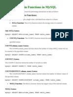 Built-In Functions in MySQL