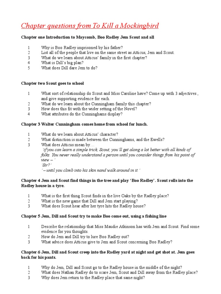 to kill a mockingbird chapter one questions