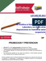 Cartilla Diapositivas Riesgos Laborales Ley 1562 de 2012