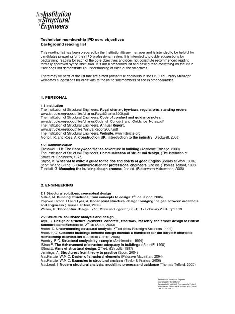 Istructe Technician Reading List Engineer Architect