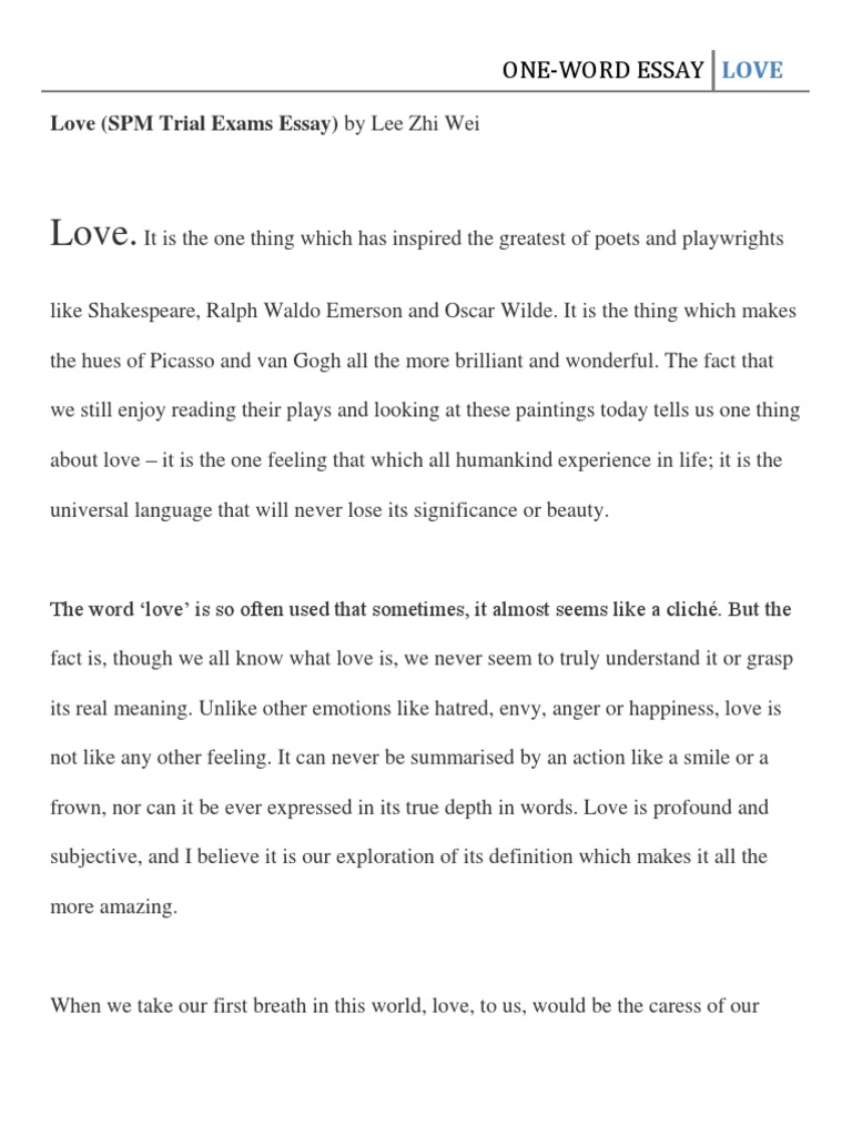 narrative essay spm about love Continuous writing (sample narrative essay) giving me all the moral support and love she could spm and stpm candidates but also on all the smkm students.