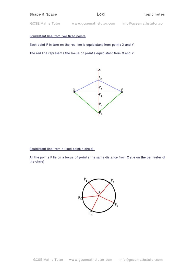 Loci, shape & space revision notes from GCSE Maths Tutor