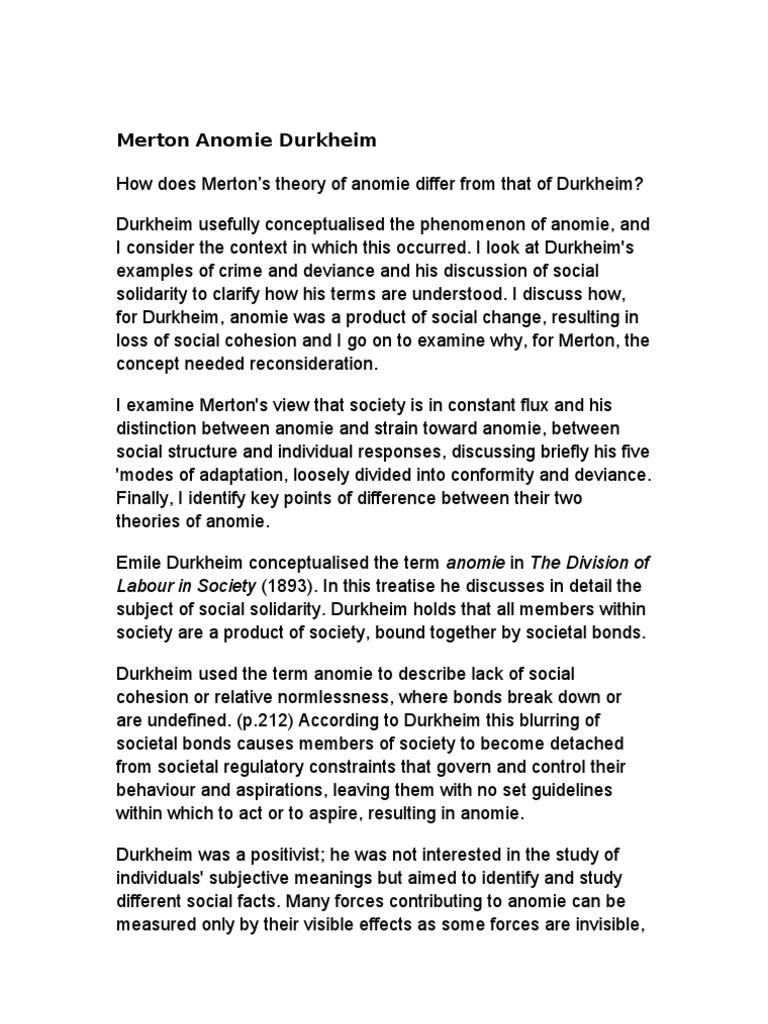 Merton Anomie Durkheim Deviance Sociology Mile Durkheim