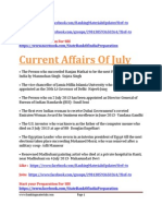 Current Affairs of July