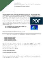 Avaliação de matemática 8º 2013