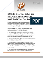 DUI DWI in GEORGIA What to Do and Legal Lawyer Representation Fact Sheet