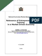 Relevance of Entrepreneurship Training in a Market-Driven Economy [Konayuma]