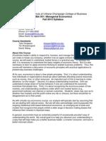 Illinois MBA 501 Economics Syllabus