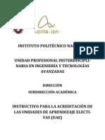 Instructivo Para Acreditar Unidades de Aprendizaje Electivas- upiita