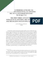 los tres primeros actos del YO, intuición intelectual, concepto del Yo y la dualidad facultad No-Yo