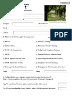 Pre Class Questionnaire