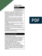 second grade assessment criteria
