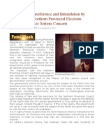 Involvement, Interference and Intimidation by Army During Northern Provincial Elections Campaign Causes Serious Concern