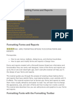 MS Access Formatting Forms and Reports