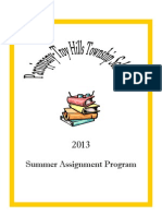 Parsippany-Troy Hills School's required summer assignments