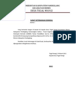 Surat Keterangan Domisili Docx