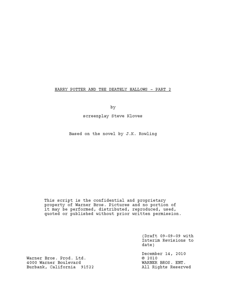 Harry Potter And The Deathly Hallows Part 2 By Screenplay Steve Kloves Harry Potter Universe Magic Paranormal