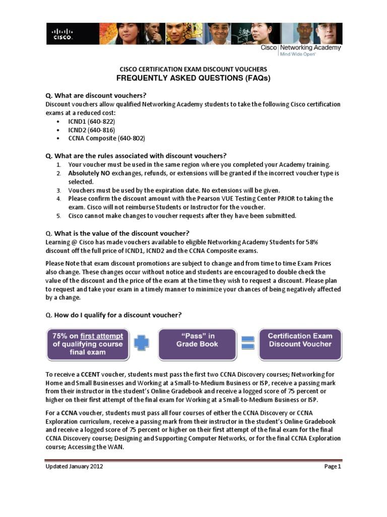 Cisco Certification Exam Discount Vouchers Faqs Cisco