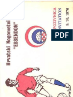 Essen Don Croatia Presentation Night 1976 Invitation