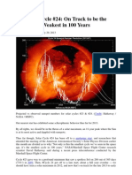 Solar Cycle 24 Weakest in 100 Years