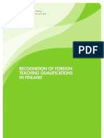 124837 Recognition of Foreign Teaching Qualifications in Finland
