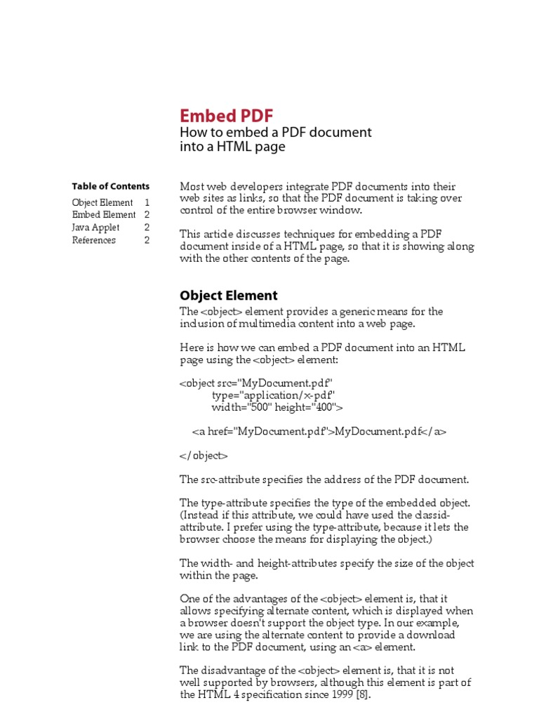 Embed PDF | Safari (Web Browser) | Html