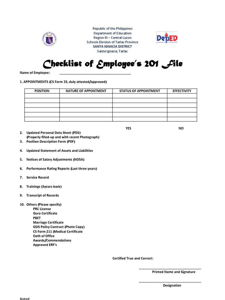 Checklist 201 File – Oath of Office Template