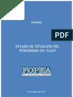 Informe de Fopea sobre el periodismo en Jujuy