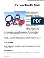 9 Factors for Selecting Oil Seals