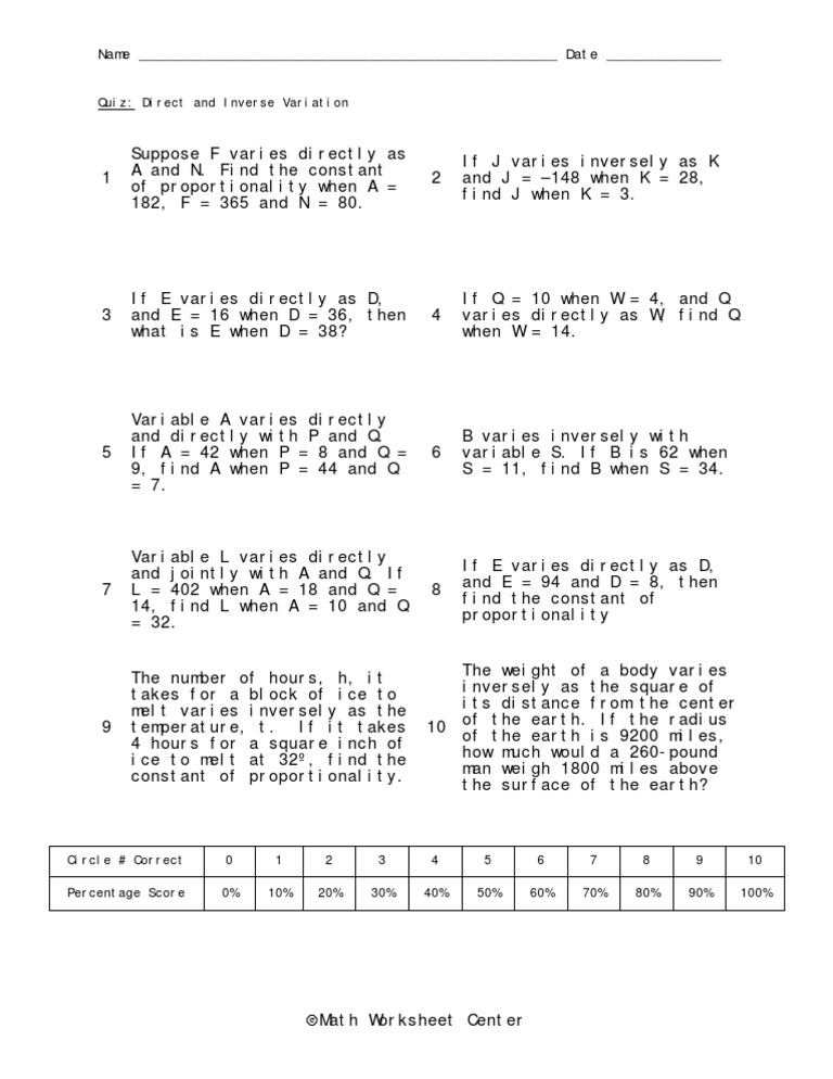 Worksheet Direct And Inverse Variation Worksheet direct and inverse variation worksheet