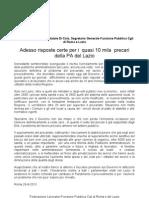 Precari Della P.a. Del Lazio-comunicato Stampa