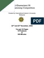 ACM-ICPC Malaysia Al-Khawarizmi Programming Contest 2009