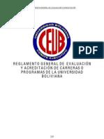 Reglamento de Evaluacion y Acreditacion de Carreras o Programas CEUB