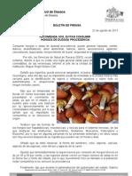 22/08/13 Germán Tenorio Vasconcelos recomienda Sso Evitar Consumir Hongos de Dudosa Procedencia