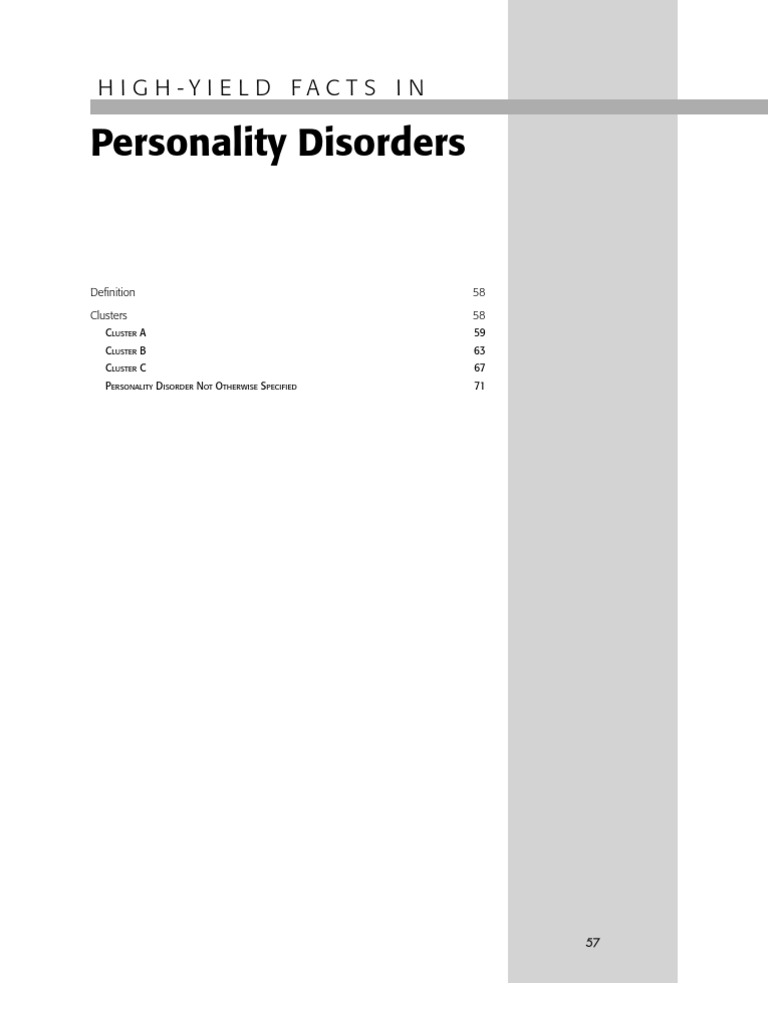 High Yield Facts in Personality Disorders | Personality