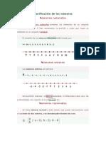 Clasificación de los números
