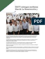 22-08-2013 Puebla on Line - RMV y CORETT entregan escrituras a 200 familias de La Resurrección y Guadalupe