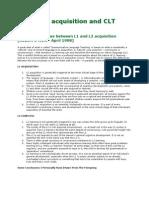 Language Acquisition and CLT