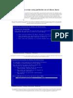 Manual para crear una partición en el disco duro