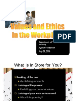 Values and Ethics in the Workplace Presentation & Handout-29jul09