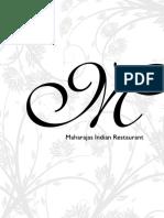 Maharajas Dine-in Menu