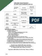 Date Sheet Half Yearly Examination 2013