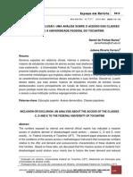 inclusão ou exclusão uma análise sobre o acesso das classes C, D e E à Universidade Federal do Tocantins