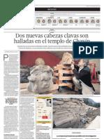Dos nuevas cabezas clavas son halladas en templo de Chavín