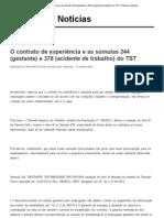 Contrato de experiência e as súmulas 244 (gestante) e 378 (acidente de trabalho) do TST