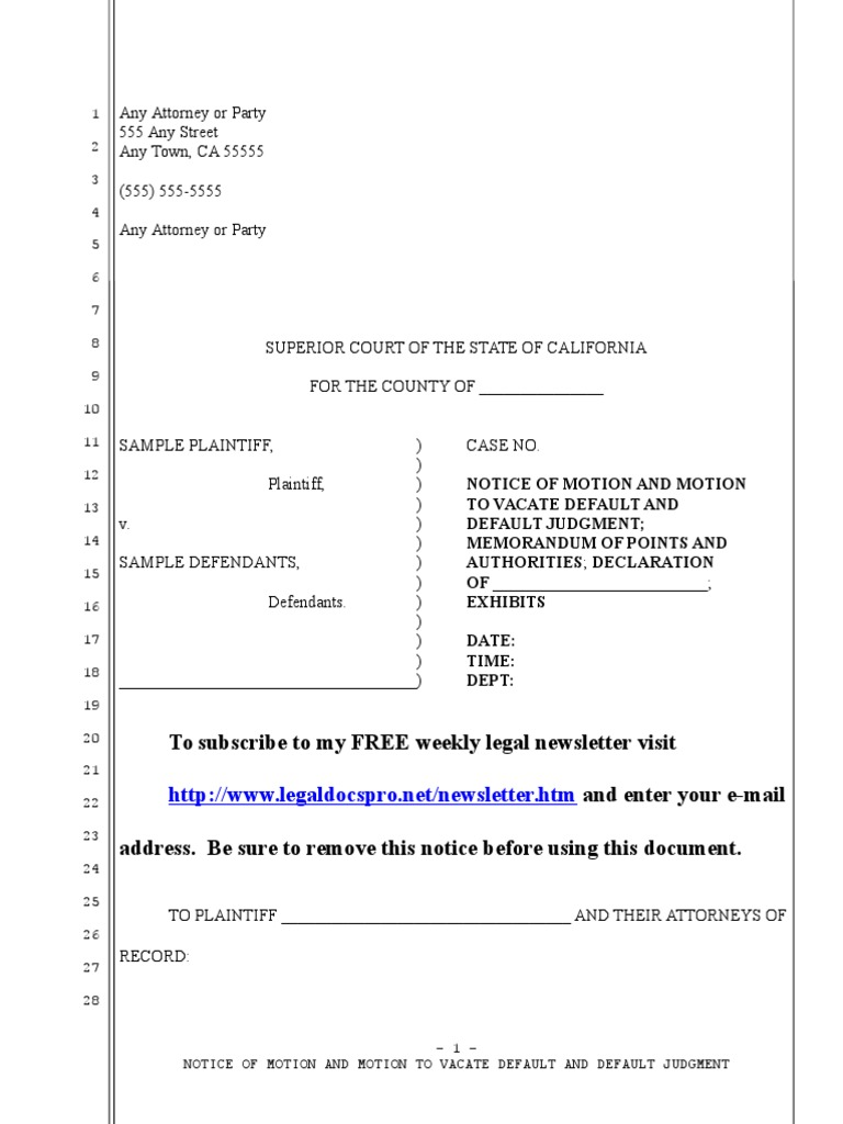 Sample Motion To Vacate Void Judgment in California Under Code of