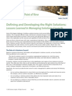 Defining and Developing the Right Solutions