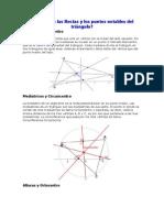 Cuáles son las Rectas y los puntos notables del triángulo